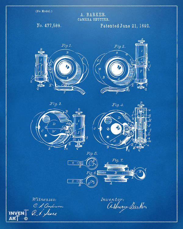 1892 barker camera shutter patent blueprint poster by nikki marie smith camera poster featuring the digital art 1892 barker camera shutter patent blueprint by nikki marie smith malvernweather Images