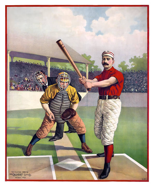 Baseball Poster featuring the photograph 1895 Batter Up At Home Plate by Daniel Hagerman