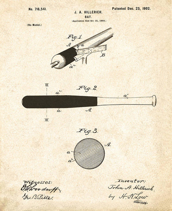 John Poster featuring the drawing 1902 Baseball Bat Patent by Bill Cannon