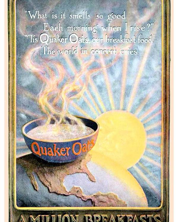1906 Poster featuring the digital art 1906 - Quaker Oats Cereal Advertisement - Color by John Madison