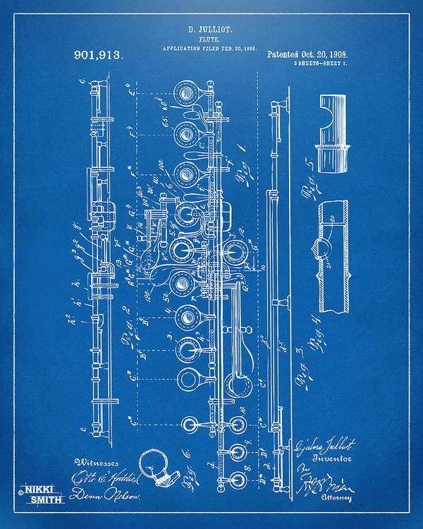 1908 Flute Patent Blueprint Poster By Nikki Marie Smith