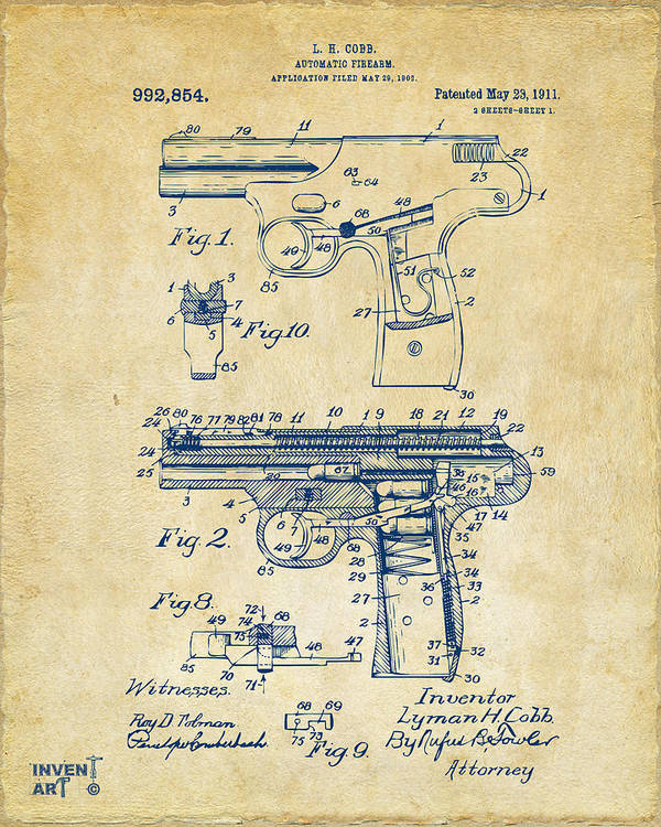 Police Gun Poster featuring the photograph 1911 Automatic Firearm Patent Artwork - Vintage by Nikki Marie Smith
