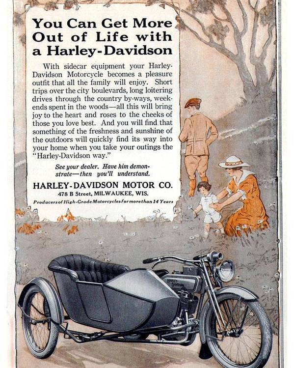 1917 - Harley Davidson Motorcycle With Sidecar Advertisement - Color Poster