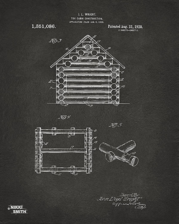 Lincoln Logs Poster featuring the digital art 1920 Lincoln Log Cabin Patent Artwork - Gray by Nikki Marie Smith