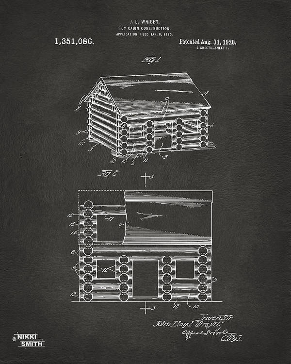 Lincoln Logs Poster featuring the digital art 1920 Lincoln Logs Patent Artwork - Gray by Nikki Marie Smith