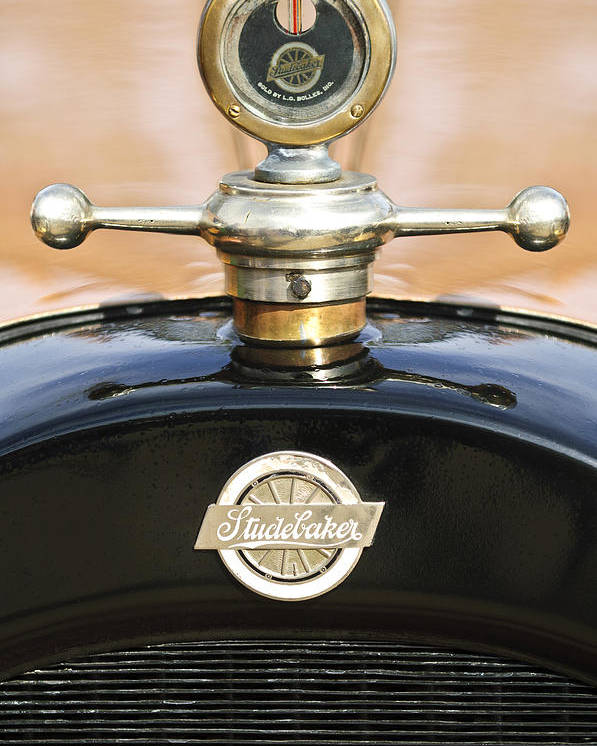 1922 Studebaker Touring Poster featuring the photograph 1922 Studebaker Touring Hood Ornament by Jill Reger