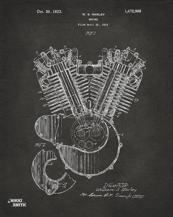 Harley-davidson Poster featuring the digital art 1923 Harley Engine Patent Art - Gray by Nikki Marie Smith