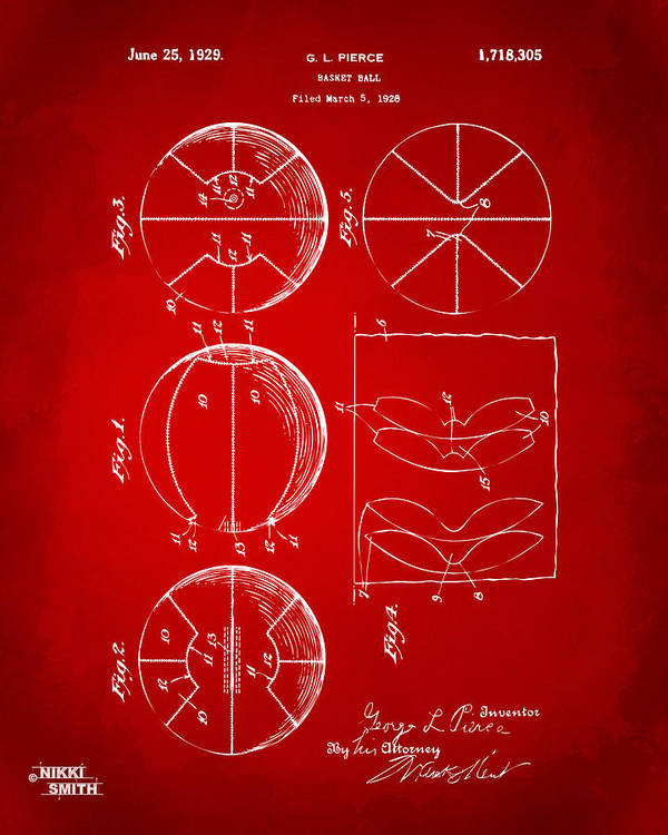 Basketball Poster featuring the drawing 1929 Basketball Patent Artwork - Red by Nikki Marie Smith