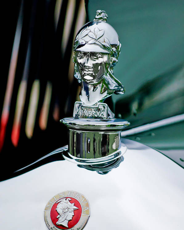 1929 Minerva Type Am Murphy Convertible Sedan Poster featuring the photograph 1929 Minerva Hood Ornament by Jill Reger