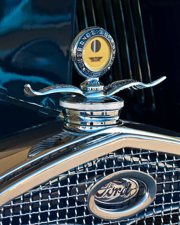 1931 Model A Ford Deluxe Roadster Poster featuring the photograph 1931 Model A Ford Deluxe Roadster Hood Ornament by Jill Reger