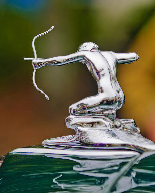 1935 Pierce-arrow 845 Coupe Poster featuring the photograph 1935 Pierce-arrow 845 Coupe Hood Ornament by Jill Reger