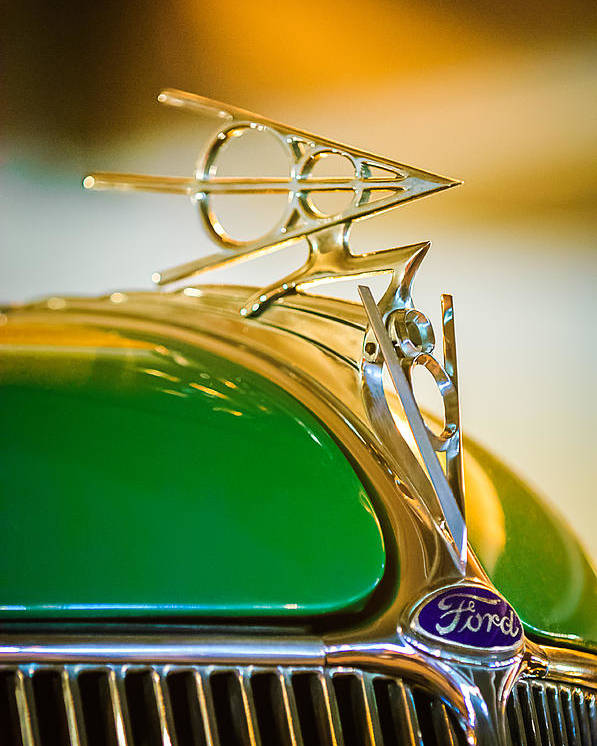 1936 Ford Deluxe Roadster Poster featuring the photograph 1936 Ford Deluxe Roadster Hood Ornament by Jill Reger