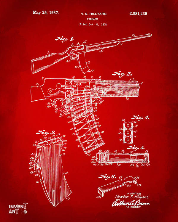 Police Gun Poster featuring the drawing 1937 Police Remington Model 8 Magazine Patent Artwork - Red by Nikki Marie Smith