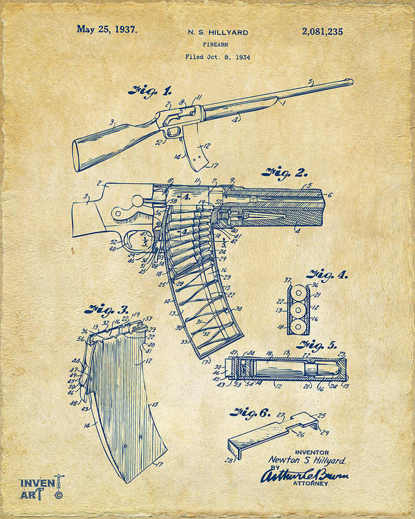 Police Gun Poster featuring the drawing 1937 Police Remington Model 8 Magazine Patent Artwork - Vintage by Nikki Marie Smith