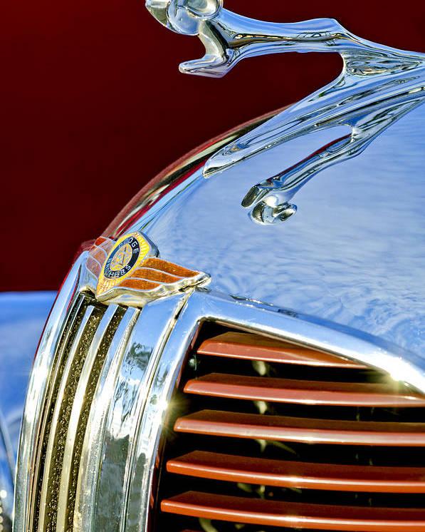 1938 Dodge Ram Poster featuring the photograph 1938 Dodge Ram Hood Ornament 3 by Jill Reger