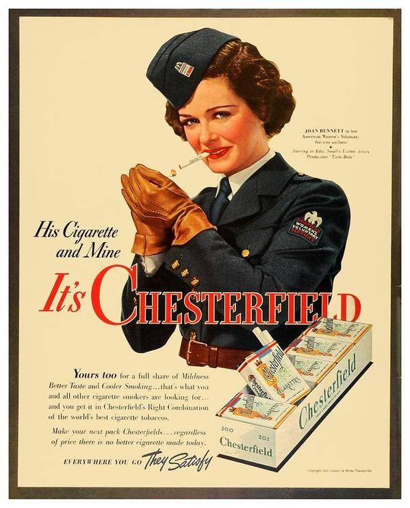 1942 - Chesterfield Cigarette Advertisement - World War II - Joan Bennett -  Color Poster