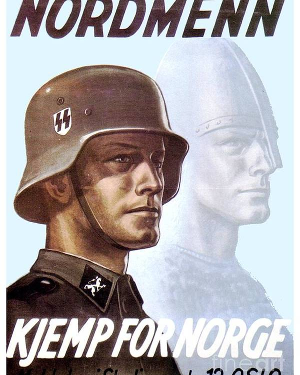 1943 German Waffen Ss Recruitment Poster Norway