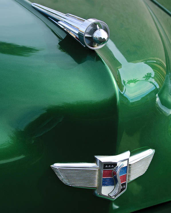 1949 Studebaker Champion Poster featuring the photograph 1949 Studebaker Champion Hood Ornament by Jill Reger