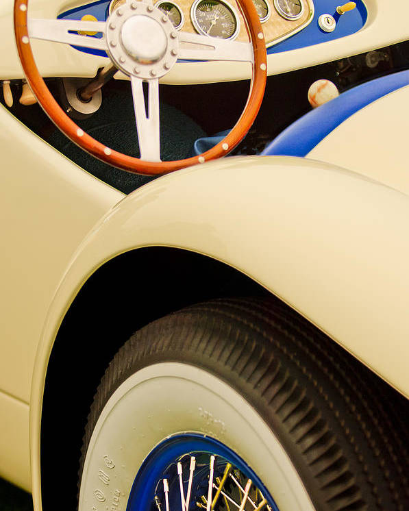 1950 Eddie Rochester Anderson Emil Diedt Roadster Poster featuring the photograph 1950 Eddie Rochester Anderson Emil Diedt Roadster Steering Wheel by Jill Reger