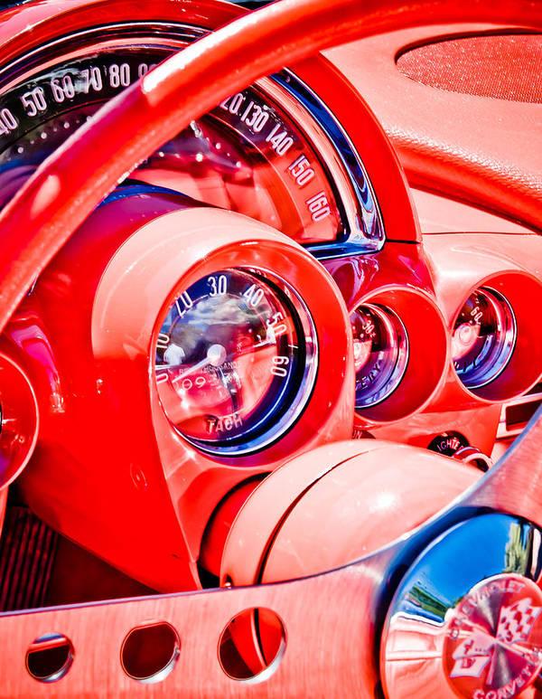 Corvette Speedo Poster featuring the photograph 1950s Corvette by Phil 'motography' Clark