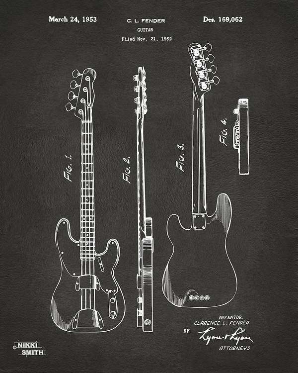 1953 Fender Bass Guitar Patent Artwork Gray Poster By