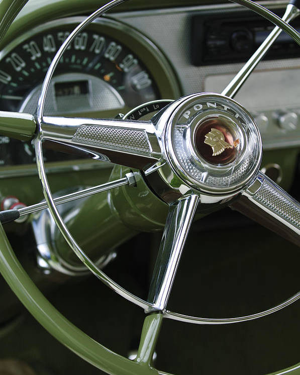 1953 Pontiac Poster featuring the photograph 1953 Pontiac Steering Wheel by Jill Reger