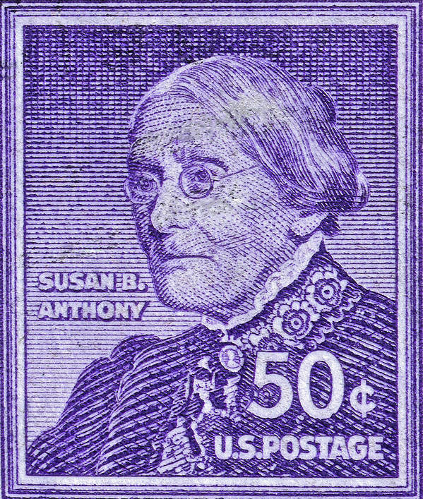 1954 1961 Poster Featuring The Photograph Susan B Anthony Stamp By