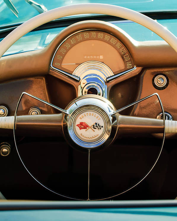 1954 Chevrolet Corvette Convertible Poster featuring the photograph 1954 Chevrolet Corvette Convertible Steering Wheel by Jill Reger