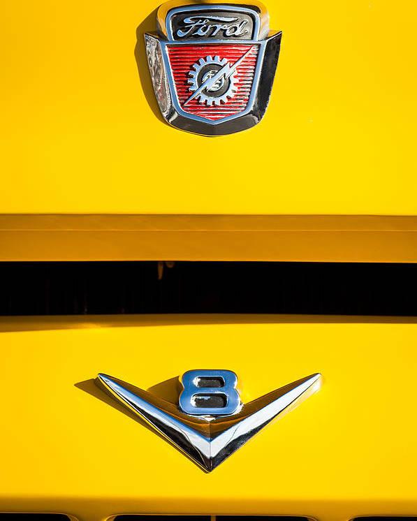 1954 Ford F-100 Custom Pickup Truck Emblems Poster