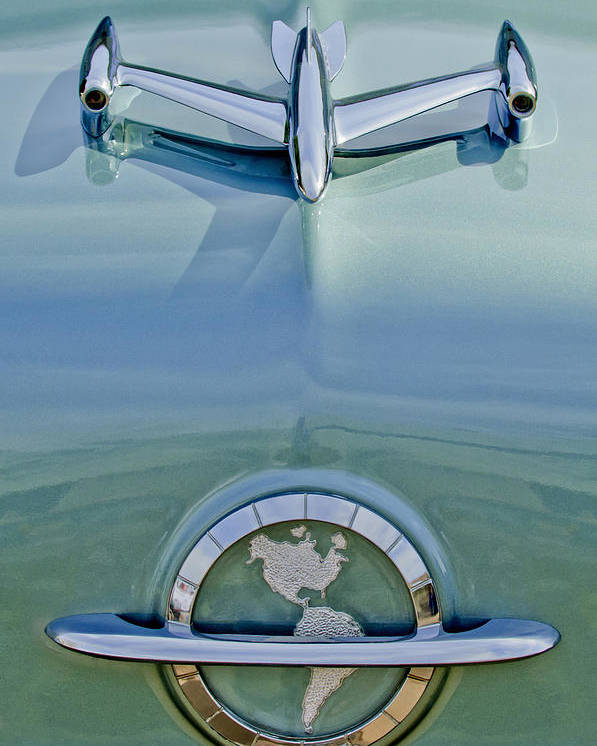 1954 Oldsmobile Super 88 Poster featuring the photograph 1954 Oldsmobile Super 88 Hood Ornament by Jill Reger
