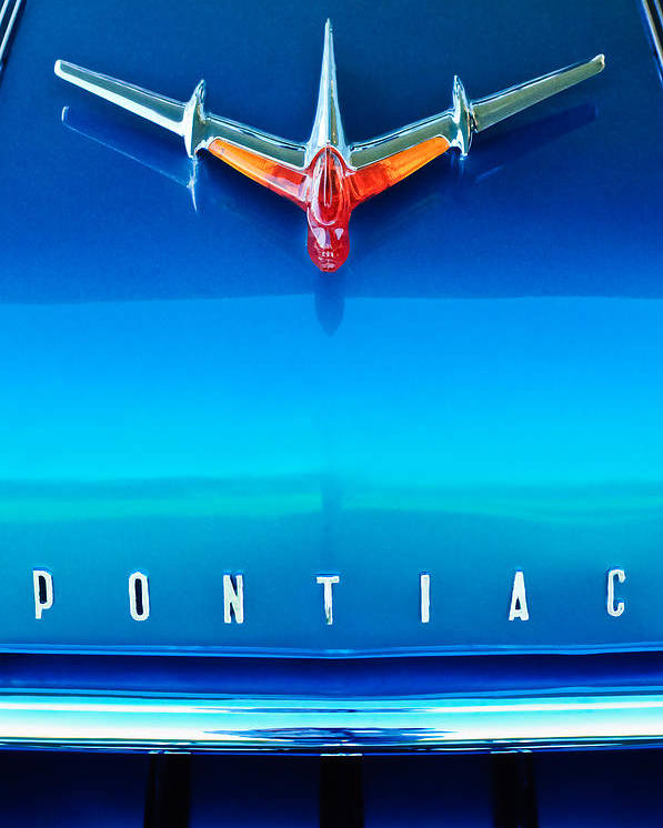 1955 Pontiac Safari Hood Ornament Poster featuring the photograph 1955 Pontiac Safari Hood Ornament 4 by Jill Reger