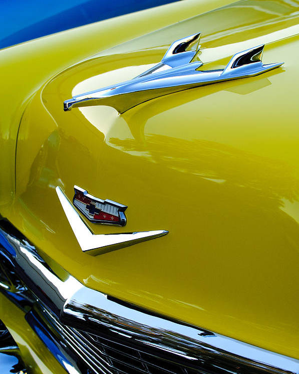 1956 Chevrolet Poster featuring the photograph 1956 Chevrolet Hood Ornament 3 by Jill Reger