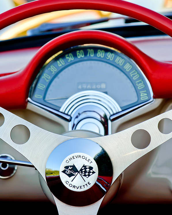 Car Poster featuring the photograph 1957 Chevrolet Corvette Convertible Steering Wheel by Jill Reger