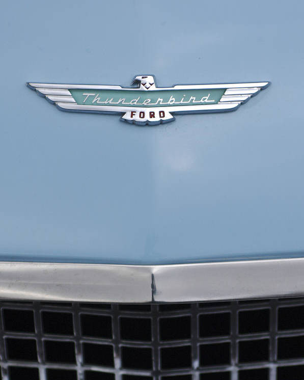 1957 Ford Thunderbird Poster featuring the photograph 1957 Ford Thunderbird Hood Ornament 2 by Jill Reger