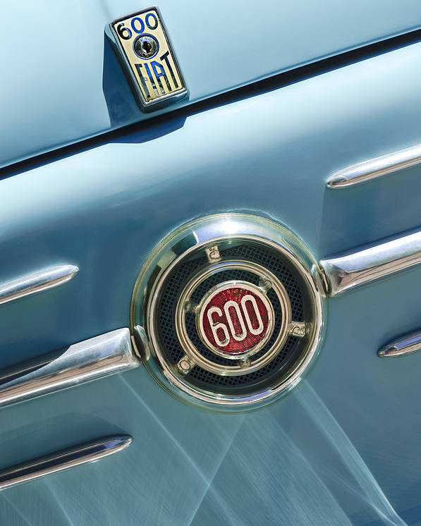 1960 Fiat 600 Jolly Emblem Poster featuring the photograph 1960 Fiat 600 Jolly Emblem by Jill Reger