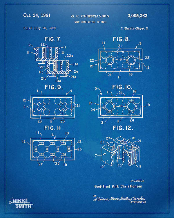 1961 lego brick patent artwork blueprint poster by nikki marie smith toy poster featuring the digital art 1961 lego brick patent artwork blueprint by nikki marie malvernweather Image collections