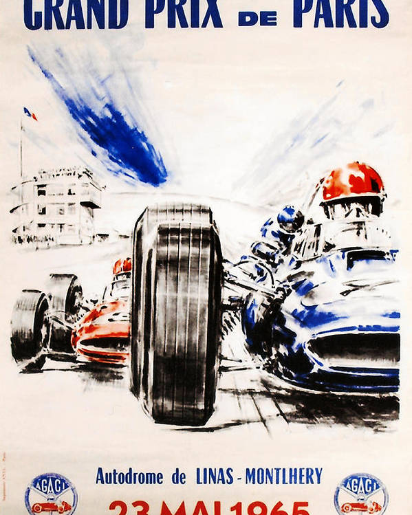Paris Grand Prix Poster featuring the digital art 1965 Grand Prix De Paris by Georgia Fowler