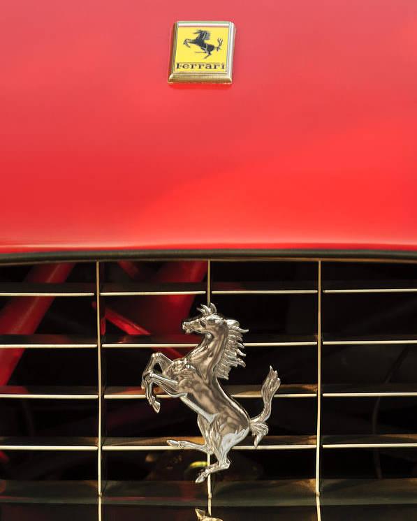 1966 Ferrari 330 Gtc Coupe Poster featuring the photograph 1966 Ferrari 330 Gtc Coupe Hood Ornament by Jill Reger