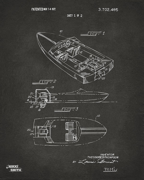 Chris Craft Poster featuring the digital art 1972 Chris Craft Boat Patent Artwork - Gray by Nikki Marie Smith