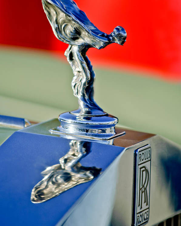 1976 Rolls Royce Silver Shadow Poster featuring the photograph 1976 Rolls Royce Silver Shadow Hood Ornament by Jill Reger