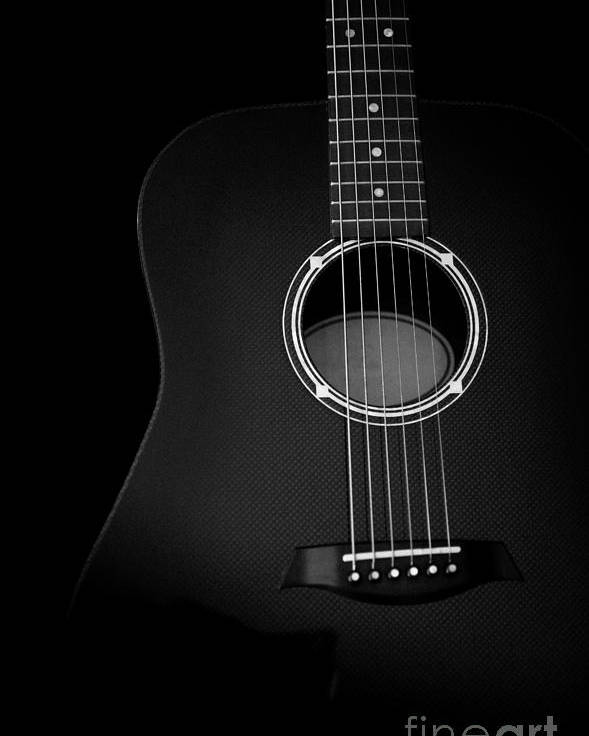 Abstract poster featuring the photograph acoustic guitar black and white artistic image by jani bryson