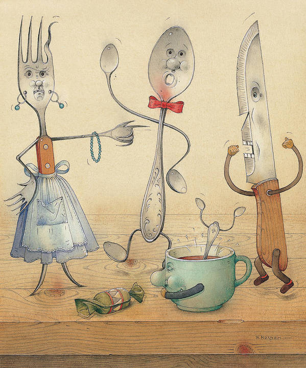 Kitchen Table Food Poster featuring the painting Argument by Kestutis Kasparavicius