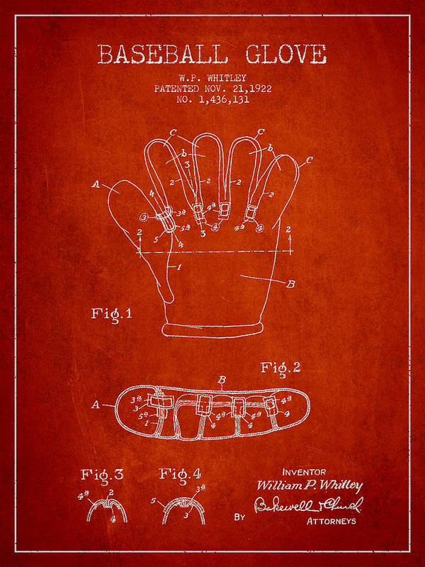 Baseball Glove Poster featuring the digital art Baseball Glove Patent Drawing From 1922 by Aged Pixel