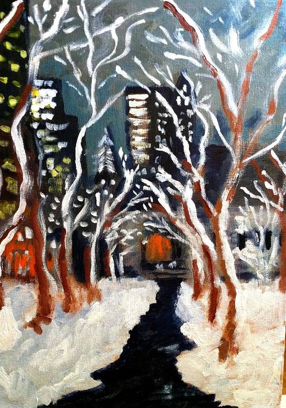 Bryant Park Poster featuring the painting Bryant Park Winter Night Nyc by Jean Messner