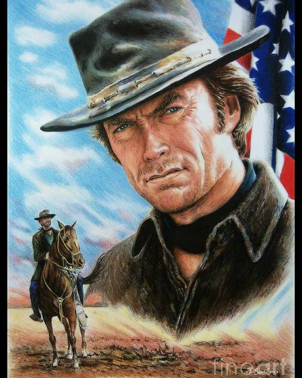 Patriotic Poster featuring the painting Clint Eastwood American Legend by Andrew Read