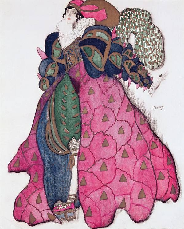 Dress Poster featuring the drawing Costume Design For The Ballet La by Leon Bakst