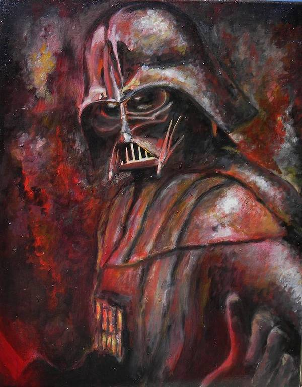 Darth Vader Poster featuring the painting Darth Vader by Casey Rhodes
