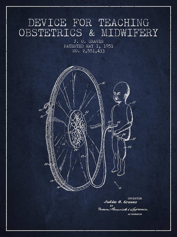 Midwife Poster featuring the digital art Device For Teaching Obstetrics And Midwifery Patent From 1951 - by Aged Pixel