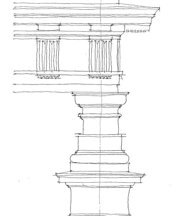 Architecture Poster featuring the drawing Doric Order by Calvin Durham