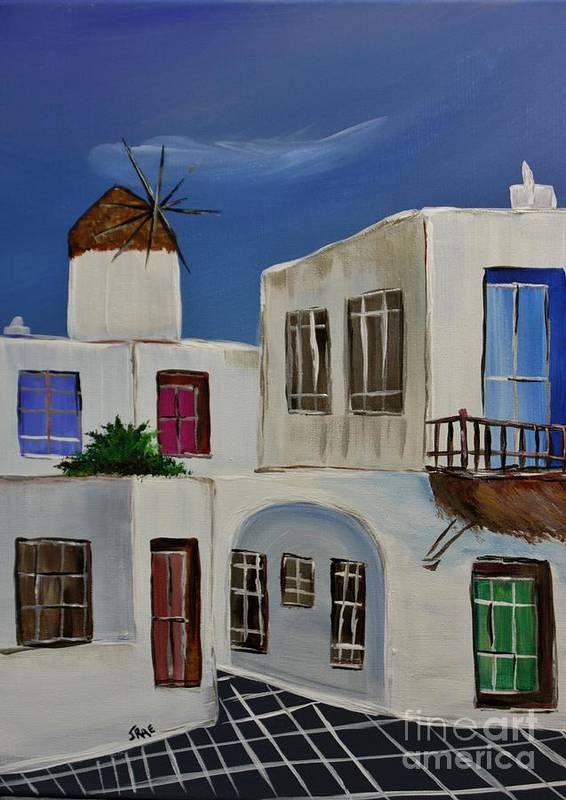 Greece Poster featuring the painting Greek Village by Janice Pariza